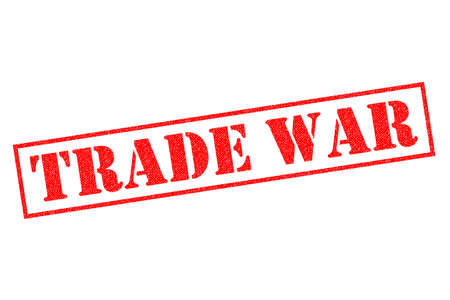 TRADE WAR red Rubber Stamp over a white background. Foto de archivo