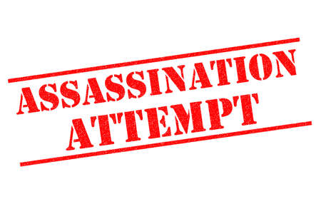 ASSASSINATION ATTEMPT red Rubber Stamp over a white background. Stock Photo