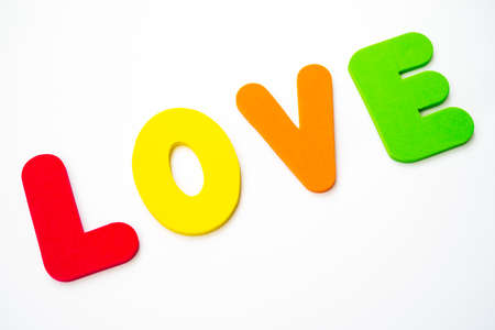 The word LOVE spelt out with colourful letters.