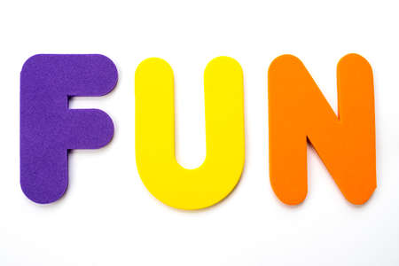 The word FUN spelt out with colourful letters.