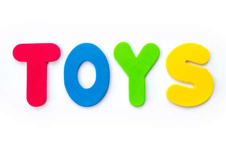 The word TOYS spelt out with coloured letters. Stockfoto