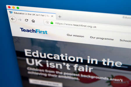 LONDON, UK - MAY 23RD 2018: The homepage of the official website for Teach First - a charity which aims to address educational disadvantage in England and Wales, on 23rd May 2018.