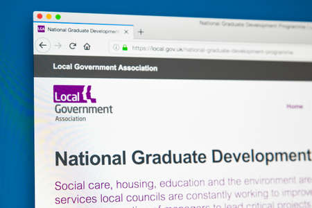 LONDON, UK - MAY 29TH 2018: The homepage of the official website for the Local Government Association - the organisation which comprises local authorities in England and Wales, on 29th May 2018.