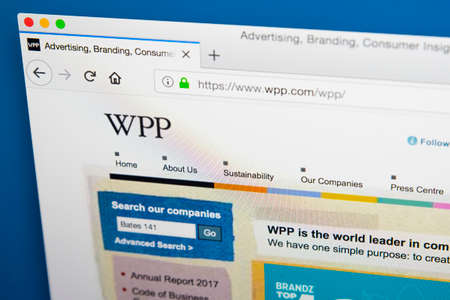 LONDON, UK - MAY 29TH 2018: The homepage of the official website for WPP plc - the British multinational advertising and public relations company, on 29th May 2018. Редакционное
