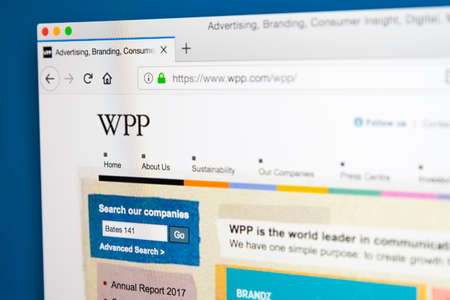 LONDON, UK - MAY 29TH 2018: The homepage of the official website for WPP plc - the British multinational advertising and public relations company, on 29th May 2018. Editorial