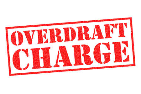 OVERDRAFT CHARGE red Rubber Stamp over a white background.