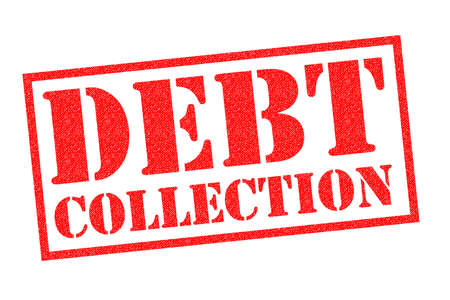 DEBT COLLECTION red Rubber Stamp over a white background.