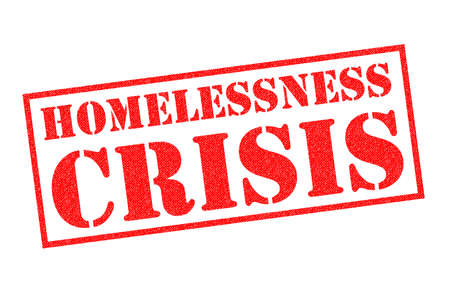 HOMELESSNESS CRISIS red Rubber Stamp over a white background.