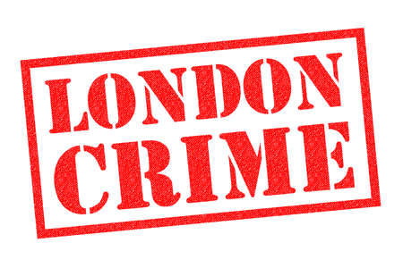 LONDON CRIME red Rubber Stamp over a white background. Stock Photo