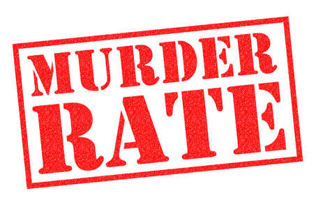 MURDER RATE red Rubber Stamp over a white background.
