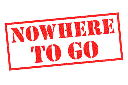 NOWHERE TO GO red Rubber Stamp over a white background. Stock Photo