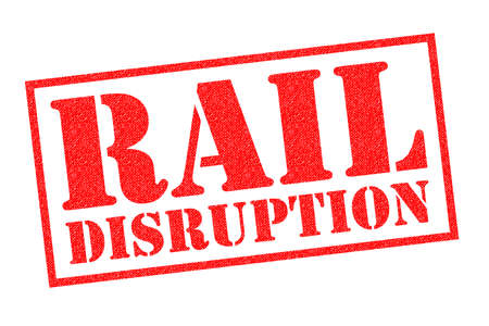 RAIL DISRUPTION red rubber Stamp over a white background.