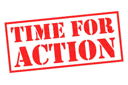 TIME FOR ACTION red Rubber Stamp over a white background.
