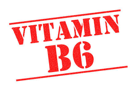 VITAMIN B6 red Rubber Stamp over a white background. 스톡 콘텐츠