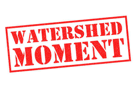 WATERSHED MOMENT red Rubber Stamp over a white background. Stock fotó