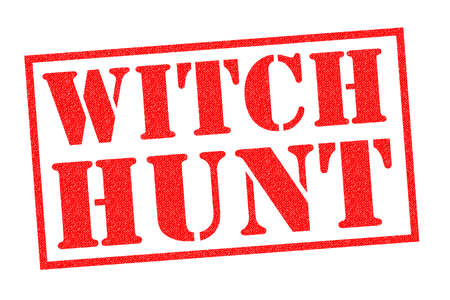 WITCH HUNT red Rubber Stamp over a white background.