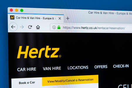 LONDON, UK - FEBRUARY 24TH 2018: The homepage of the official website for Hertz - the American car rental company, on 24th February 2018.