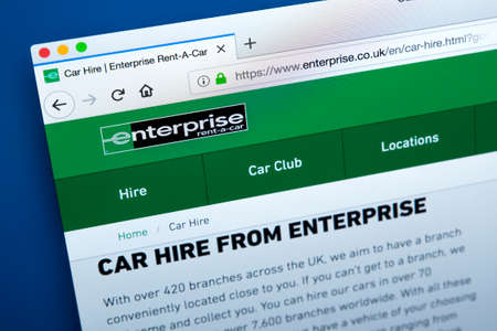 LONDON, UK - FEBRUARY 24TH 2018: The homepage of the official website for Enetrprise - the American car rental company, on 24th February 2018. Editorial