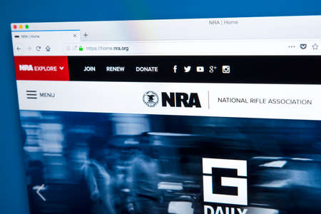 LONDON, UK - FEBRUARY 22ND 2018: The homepage of the official website for the National Rifle Association - the NRA is an American nonprofit organization that advocates for gun rights, on 22nd February 2018.