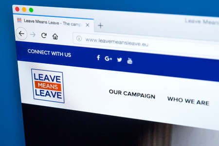 LONDON, UK - FEBRUARY 22ND 2018: The homepage of the official Website for Leave Means Leave - a pro-Brexit, Eurosceptic political pressure group, on 22nd February 2018. Redactioneel