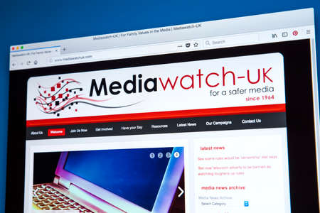 LONDON, UK - FEBRUARY 22ND 2018: The homepage of the official Website of Mediawatch UK - a pressure group in the UK campaigning against media content that is harmful or offensive, on 22nd February 2018. Banque d'images - 104470226