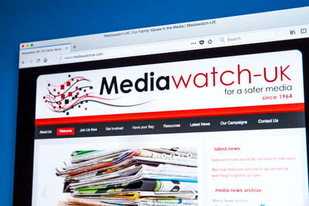 LONDON, UK - FEBRUARY 22ND 2018: The homepage of the official Website of Mediawatch UK - a pressure group in the UK campaigning against media content that is harmful or offensive, on 22nd February 2018.