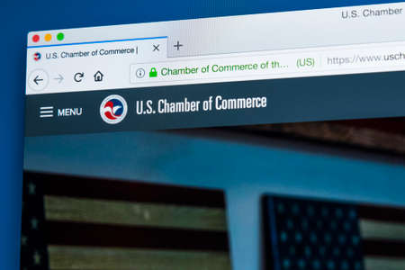 LONDON, UK - FEBRUARY 8TH 2018: The homepage of the website for the US Chamber of Commerce - a business-oriented American lobbying group, on 8th February 2018. Editorial