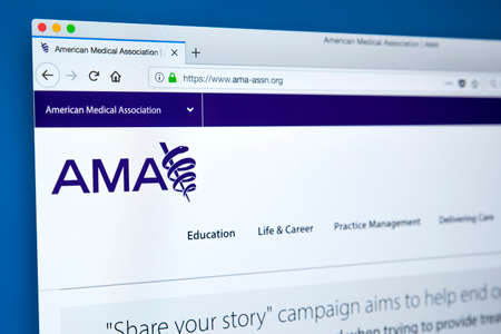 LONDON, UK - FEBRUARY 8TH 2018: The homepage of the website for the American Medical Association - the largest association of physicians in the United States, on 8th February 2018.