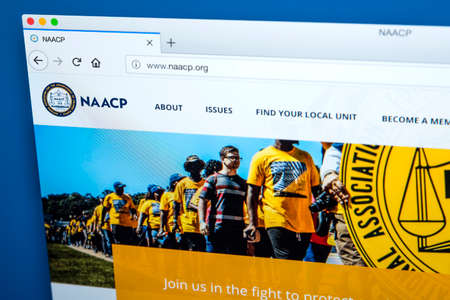 LONDON, UK - FEBRUARY 8TH 2018: The homepage of the website for the National Association for the Advancement of Colored People - the civil rights organization, on 8th February 2018.