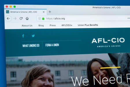 LONDON, UK - FEBRUARY 22ND 2018: The homepage of the official website for the American Federation of Labor and Congress of Industrial Organizations, on 22nd February 2018.