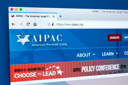LONDON, UK - FEBRUARY 22ND 2018: The homepage of the official website for the American Israel Public Affairs Committee - a lobbying group that advocates pro-Israel policies, on 22nd February 2018.