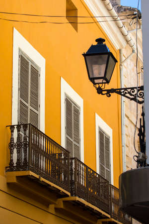 A view of the beautiful balconies in the historic old city of Denia in Spain.