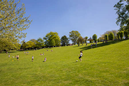 COLCHESTER, UK - MAY 7TH 2018: A view of Colchester Castle Park in the historic town of Colchester, Essex, on 7th May 2018.