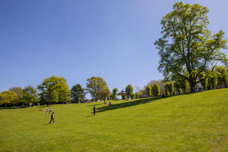 COLCHESTER, UK - MAY 7TH 2018: A view inside the beautiful Colchester Castle Park in the historic town of Colchester, Essex, on 7th May 2018. Editorial
