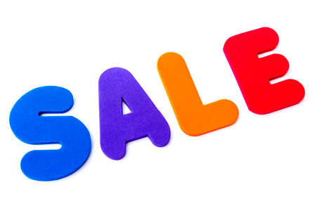 The word SALE over a plain white background. Banco de Imagens
