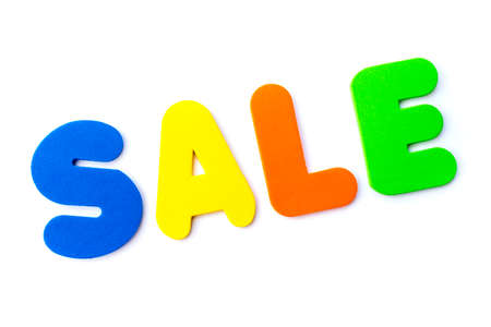 The word SALE over a plain white background. Stock Photo