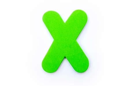 Green Letter X over a white background.