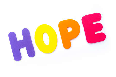 The word HOPE spelt in multi-coloured letters.