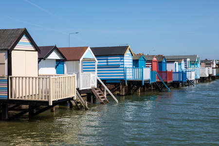 A view of the Beach Huts at Thorpe Bay in Southend-on-Sea in Essex. Archivio Fotografico