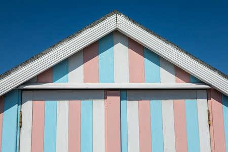 A beach hut at Thorpe Bay in Essex, UK. Archivio Fotografico