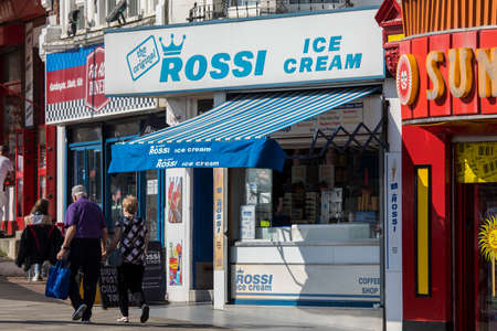 SOUTHEND-ON-SEA, ESSEX - APRIL 18TH 2018: Rossi Ice Cream parlour located on Southend seafront in Southend-on-Sea in Essex, UK, on 18th April 2018.