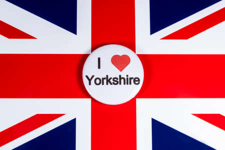 LONDON, UK - APRIL 27TH 2018: An I Love Yorkshire badge pictured over the UK flag, on 27th April 2018.