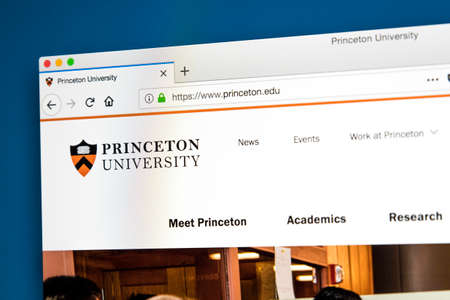LONDON, UK - MAY 17TH 2018: The homepage of the official website for Princeton University - a private Ivy League research university in Princeton, New Jersey, on 17th May 2018.