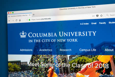 LONDON, UK - MAY 17TH 2018: The homepage of the official website for Columbia University - a private Ivy League research university in Upper Manhattan, New York City, on 17th May 2018.