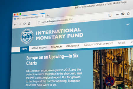 LONDON, UK - MAY 17TH 2018: The homepage of the official website for the International Monetary Fund, on 17th May 2018. Editorial