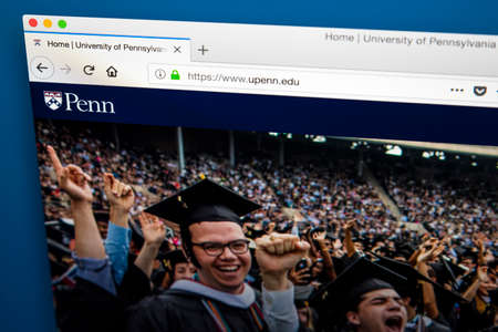 LONDON, UK - MAY 17TH 2018: The homepage of the official website for the University of Pennsylvania - a private Ivy League research university located in the University City section of Philadelphia, on 17th May 2018. Editorial
