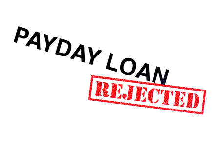 Payday Loan heading stamped with a red REJECTED rubber stamp.
