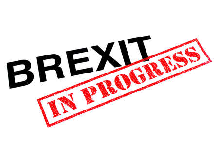 Brexit heading stamped with a red IN PROGRESS rubber stamp.