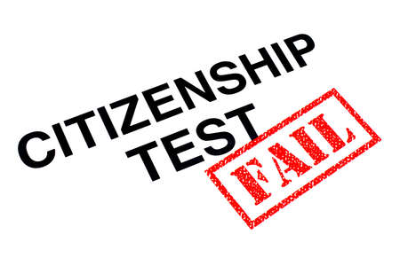 Citizenship Test heading stamped with a red FAIL rubber stamp.