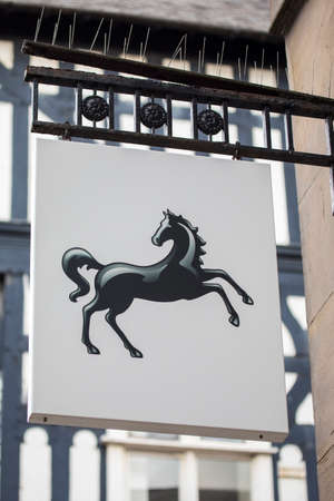 Chester, UK - August 1st 2018: A sign above the entrance to a Lloyds Bank in the city of Chester, UK.